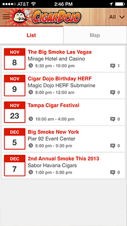 Cigar Dojo events list