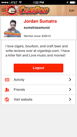 Cigar Dojo profile page