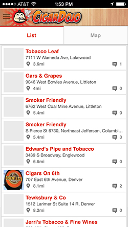 Cigar shop locator