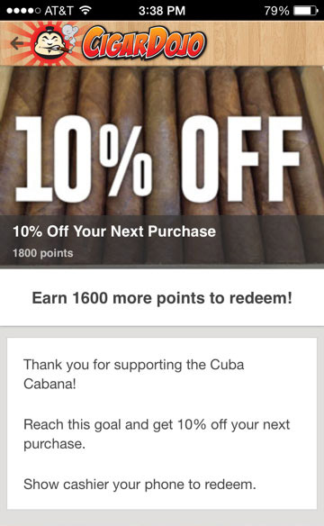cigar loyalty program select prize
