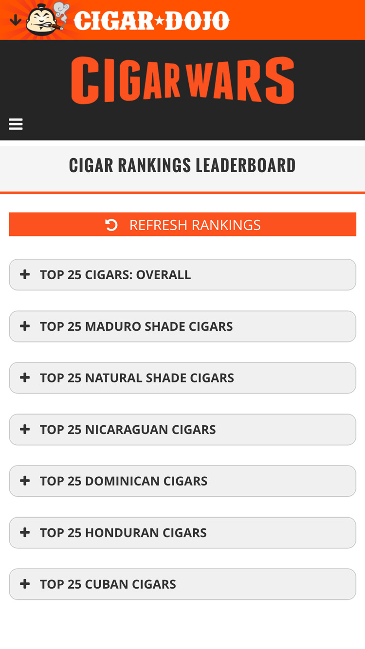 Cigar Wars app leaderboard by category